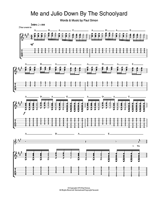 Paul Simon Me and Julio Down By The Schoolyard sheet music notes and chords. Download Printable PDF.