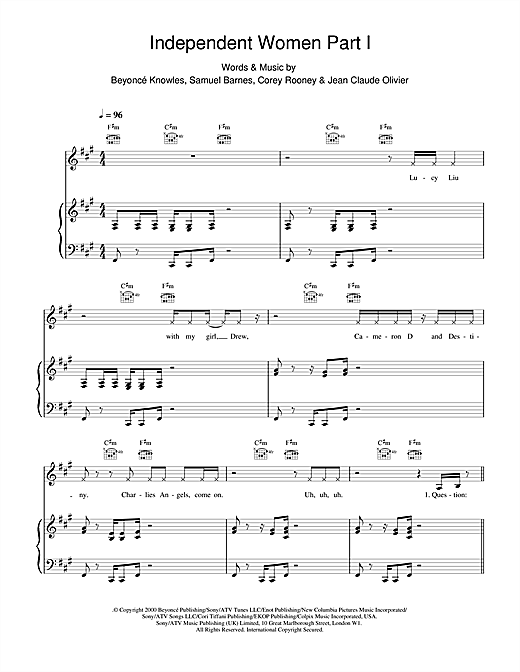 Destiny's Child Independent Women Part I sheet music notes and chords. Download Printable PDF.