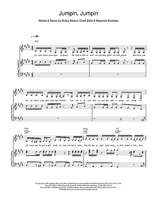 Destiny's Child Jumpin, Jumpin sheet music notes and chords. Download Printable PDF.