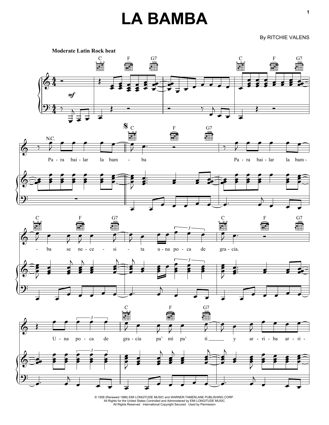 Ritchie Valens La Bamba sheet music notes and chords. Download Printable PDF.