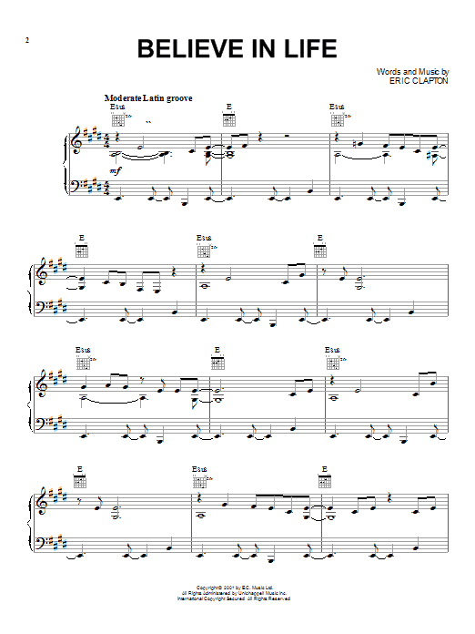 Eric Clapton Believe In Life sheet music notes and chords. Download Printable PDF.