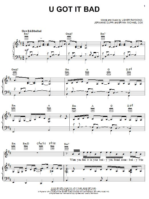Usher U Got It Bad sheet music notes and chords. Download Printable PDF.