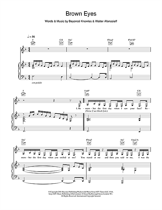 Destiny's Child Brown Eyes sheet music notes and chords. Download Printable PDF.