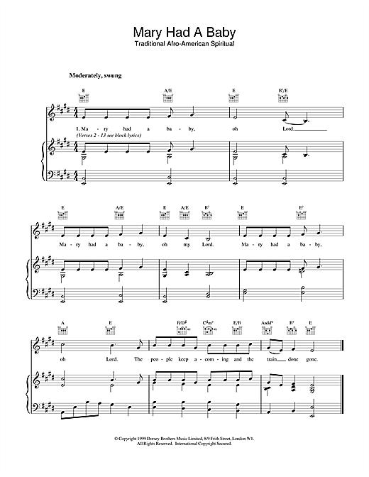 Christmas Carol Mary Had A Baby sheet music notes and chords. Download Printable PDF.