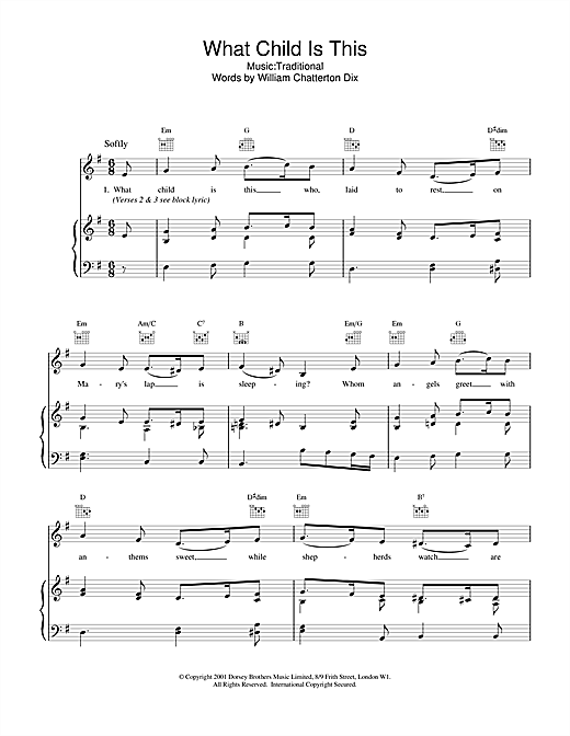 Christmas Carol What Child Is This? sheet music notes and chords. Download Printable PDF.