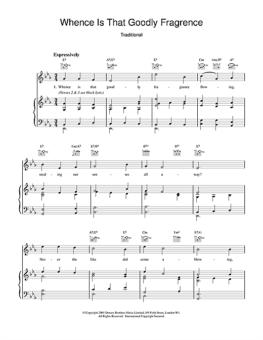 Traditional Whence Is That Goodly Fragrance sheet music notes and chords. Download Printable PDF.