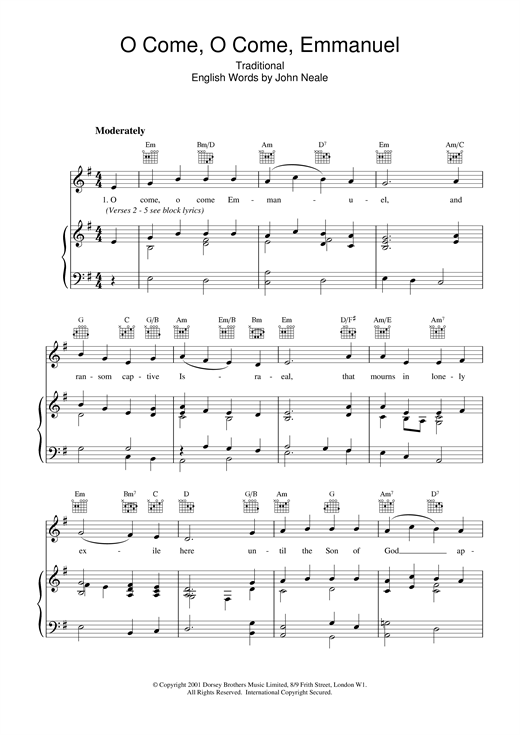 Christmas Carol O Come, O Come, Emmanuel sheet music notes and chords. Download Printable PDF.