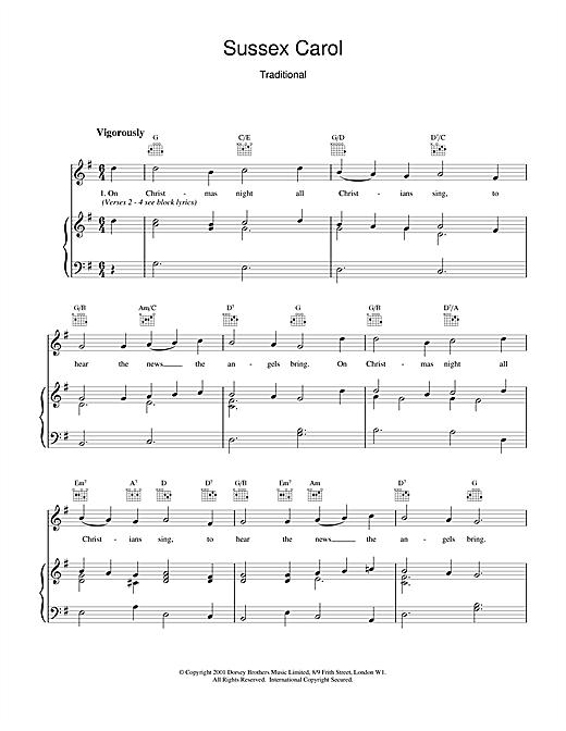 Christmas Carol Sussex Carol sheet music notes and chords. Download Printable PDF.