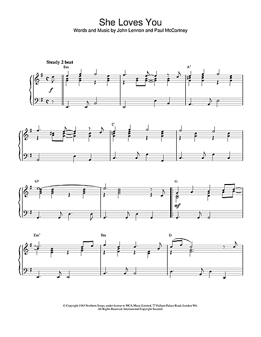The Beatles She Loves You sheet music notes and chords. Download Printable PDF.