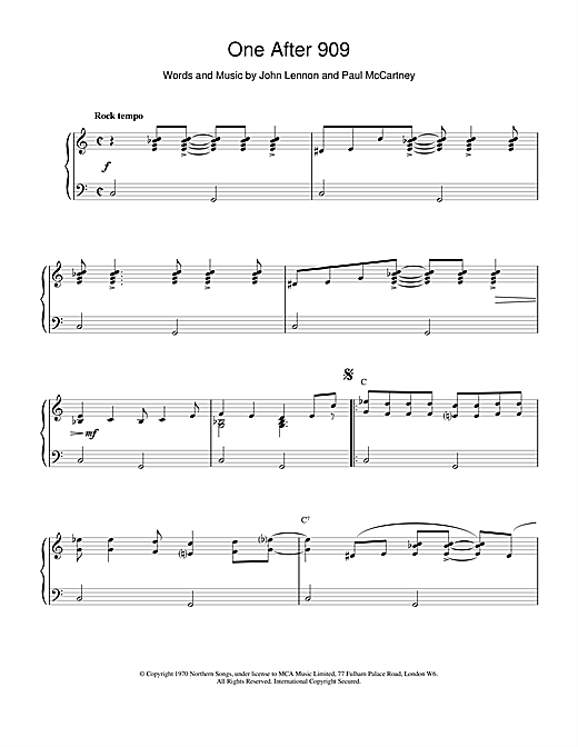 The Beatles One After 909 sheet music notes and chords. Download Printable PDF.