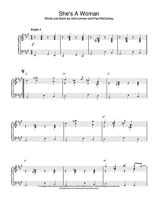 The Beatles She's A Woman sheet music notes and chords. Download Printable PDF.