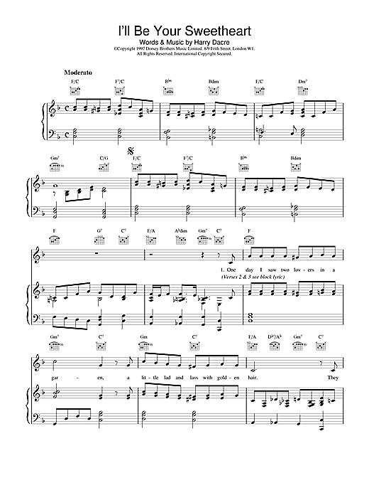Harry Dacre I'll Be Your Sweetheart sheet music notes and chords. Download Printable PDF.