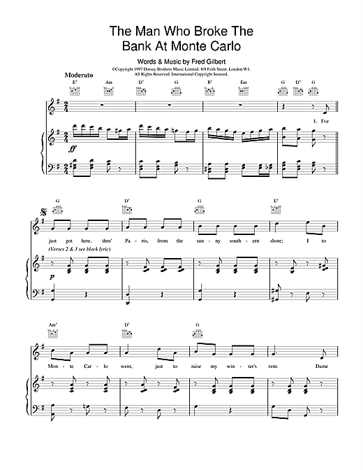 Fred Gilbert The Man Who Broke The Bank At Monte Carlo sheet music notes and chords. Download Printable PDF.