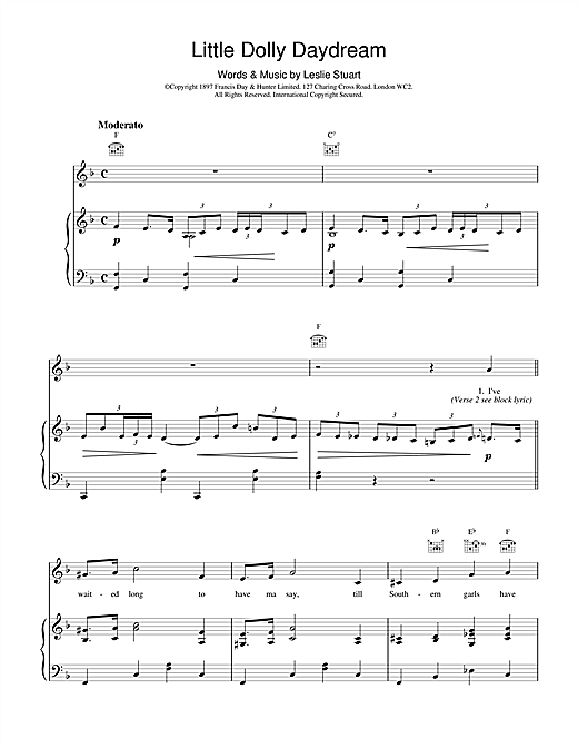 Leslie Stuart Little Dolly Daydream sheet music notes and chords. Download Printable PDF.