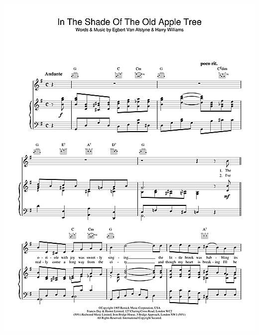 Egbert Van Alstyne & Harry Williams In The Shade Of The Old Apple Tree sheet music notes and chords. Download Printable PDF.