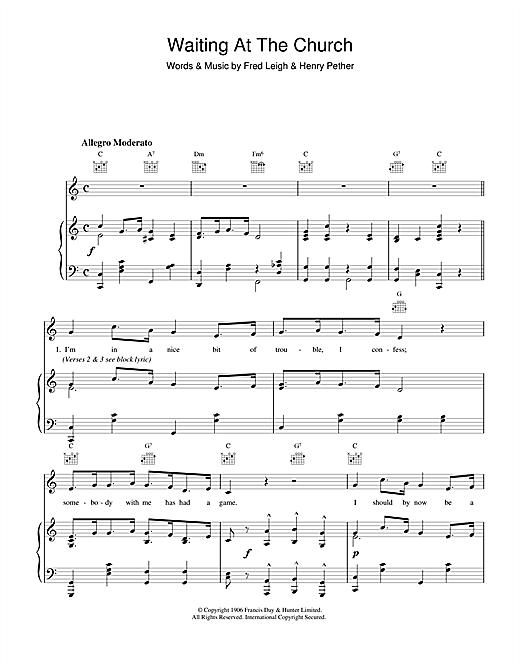 Fred Leigh & Henry Pether Waiting At The Church sheet music notes and chords. Download Printable PDF.