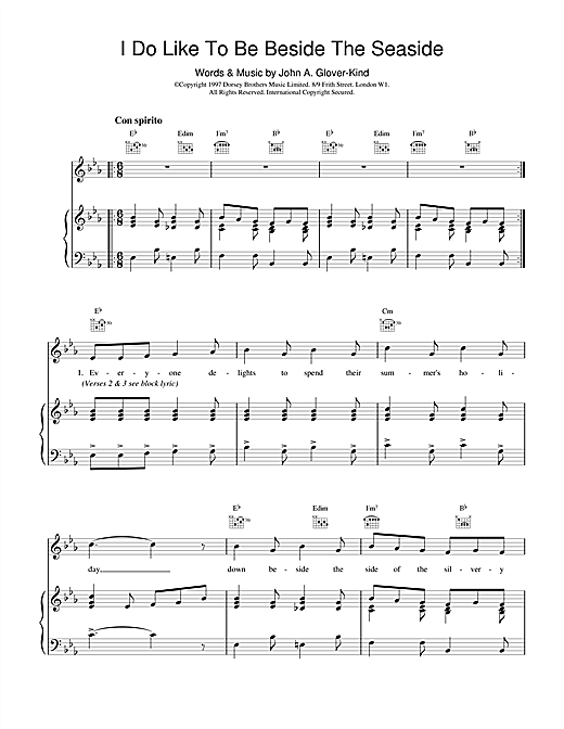 John Glover-Kind I Do Like To Be Beside The Seaside sheet music notes and chords. Download Printable PDF.