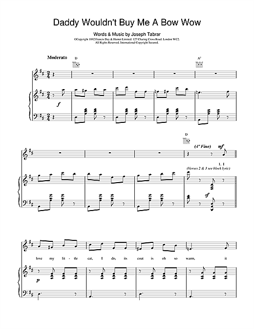 Joseph Tabrar Daddy Wouldn't Buy Me A Bow Wow sheet music notes and chords. Download Printable PDF.
