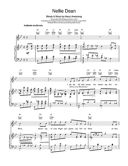 Harry Armstrong Nellie Dean sheet music notes and chords. Download Printable PDF.