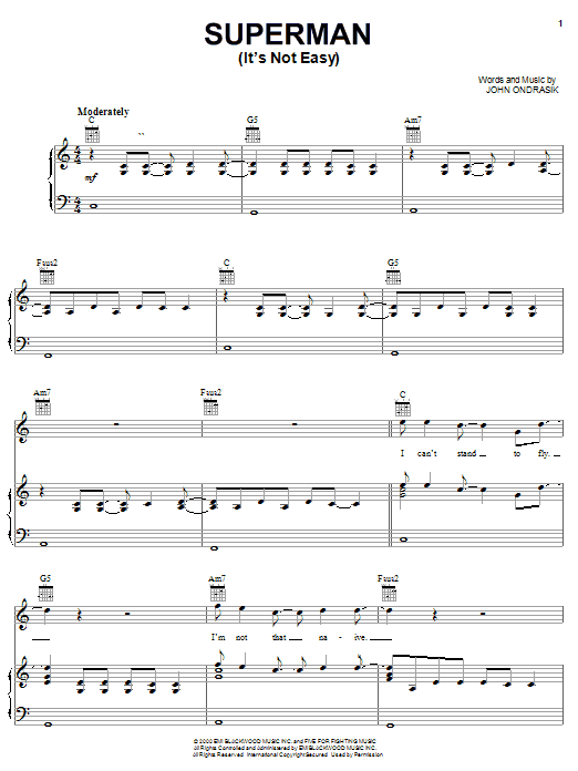 Five For Fighting Superman (It's Not Easy) sheet music notes and chords. Download Printable PDF.