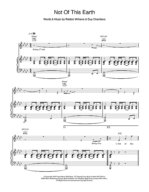 Robbie Williams Not Of This Earth sheet music notes and chords. Download Printable PDF.