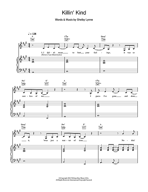 Shelby Lynne Killin' Kind sheet music notes and chords. Download Printable PDF.