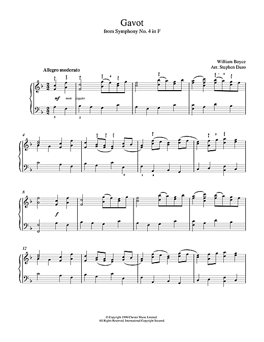 William Boyce Gavot sheet music notes and chords. Download Printable PDF.