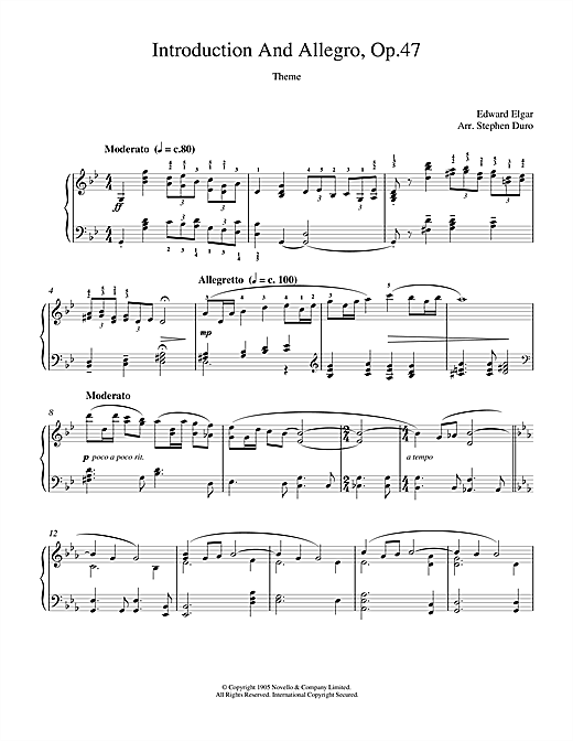 Edward Elgar Introduction And Allegro opus 47 sheet music notes and chords. Download Printable PDF.