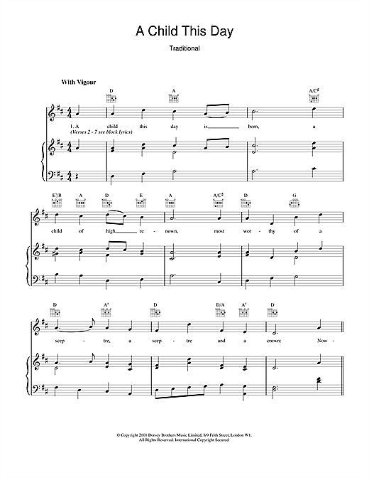 Christmas Carol A Child This Day sheet music notes and chords. Download Printable PDF.