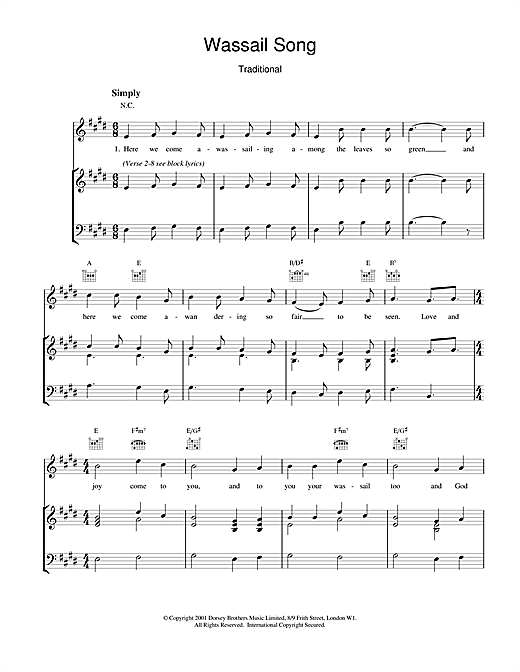 Christmas Carol Wassail Song sheet music notes and chords. Download Printable PDF.