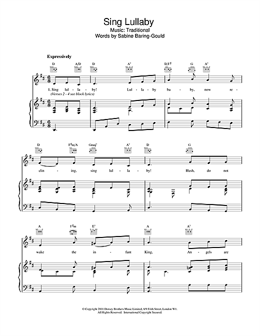 Christmas Carol Sing Lullaby sheet music notes and chords. Download Printable PDF.