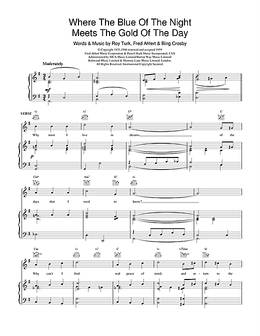Bing Crosby Where The Blue Of The Night Meets The Gold Of The Day sheet music notes and chords. Download Printable PDF.