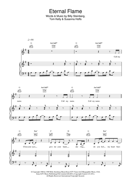Atomic Kitten Eternal Flame sheet music notes and chords. Download Printable PDF.