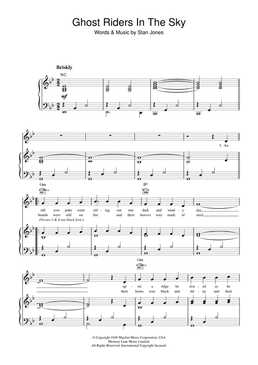 Johnny Cash Ghost Riders In The Sky sheet music notes and chords. Download Printable PDF.