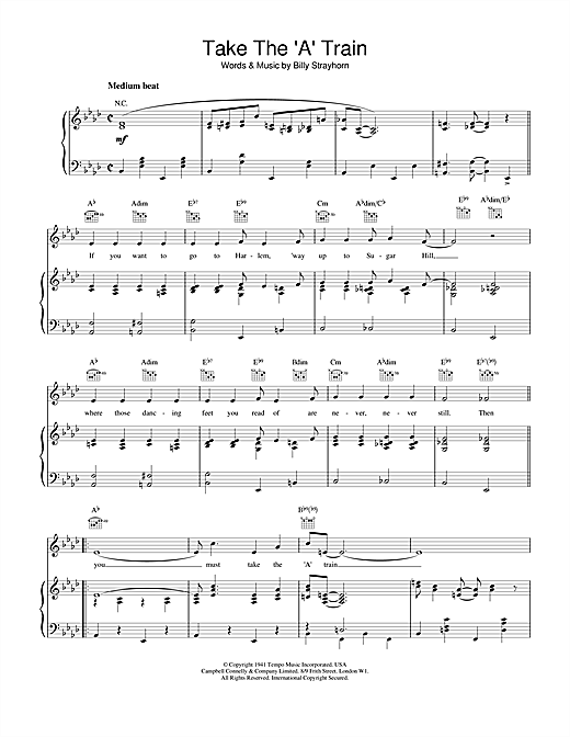 Billy Strayhorn Take The 'A' Train sheet music notes and chords. Download Printable PDF.