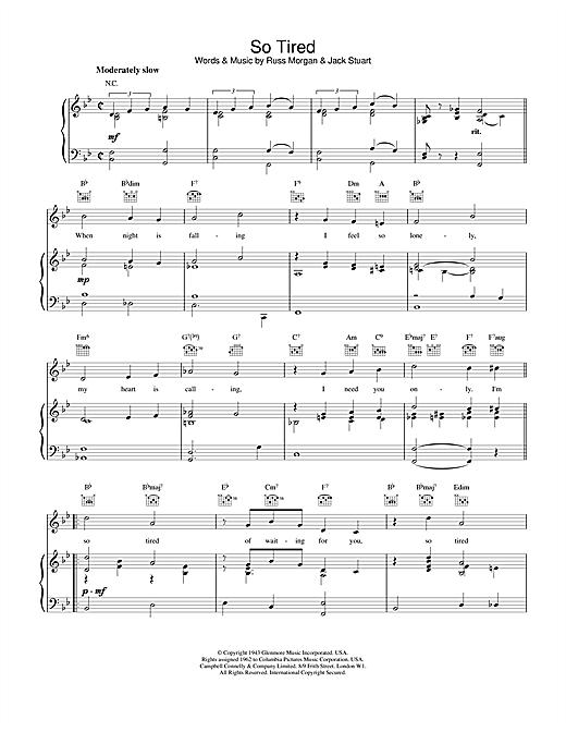 Russ Morgan & Jack Stuart So Tired sheet music notes and chords. Download Printable PDF.