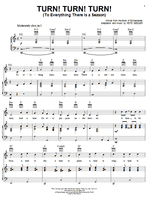 The Byrds Turn! Turn! Turn! (To Everything There Is A Season) sheet music notes and chords. Download Printable PDF.