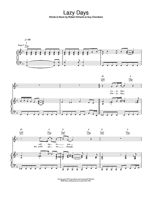 Robbie Williams Lazy Days sheet music notes and chords. Download Printable PDF.