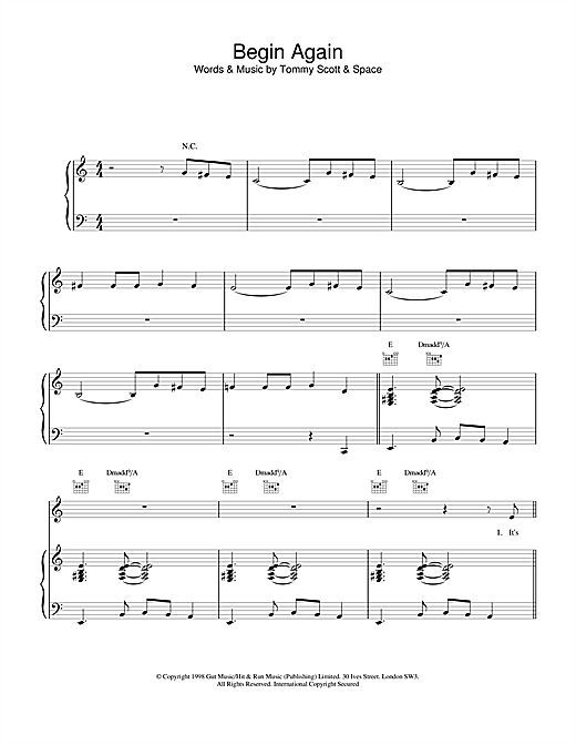 Space Begin Again sheet music notes and chords. Download Printable PDF.