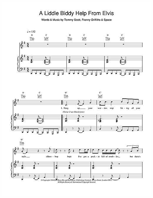 Space A Liddle Biddy Help From Elvis sheet music notes and chords. Download Printable PDF.