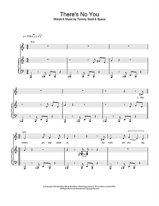 Space There's No You sheet music notes and chords. Download Printable PDF.