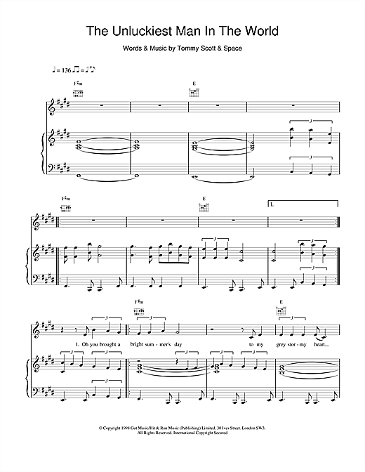 Space The Unluckiest Man In The World sheet music notes and chords. Download Printable PDF.