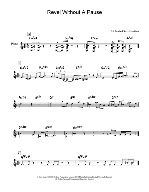 Bill Bruford Revel Without A Pause sheet music notes and chords. Download Printable PDF.