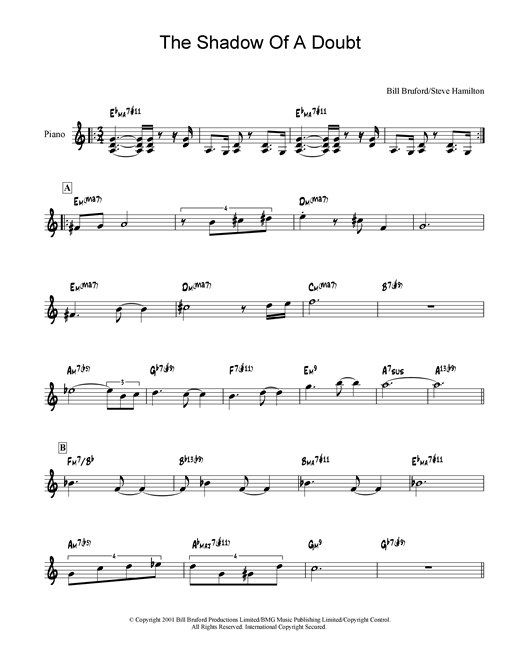 Bill Bruford The Shadow Of A Doubt sheet music notes and chords. Download Printable PDF.