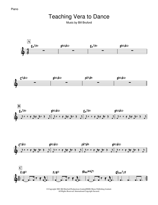 Bill Bruford Teaching Vera To Dance sheet music notes and chords. Download Printable PDF.