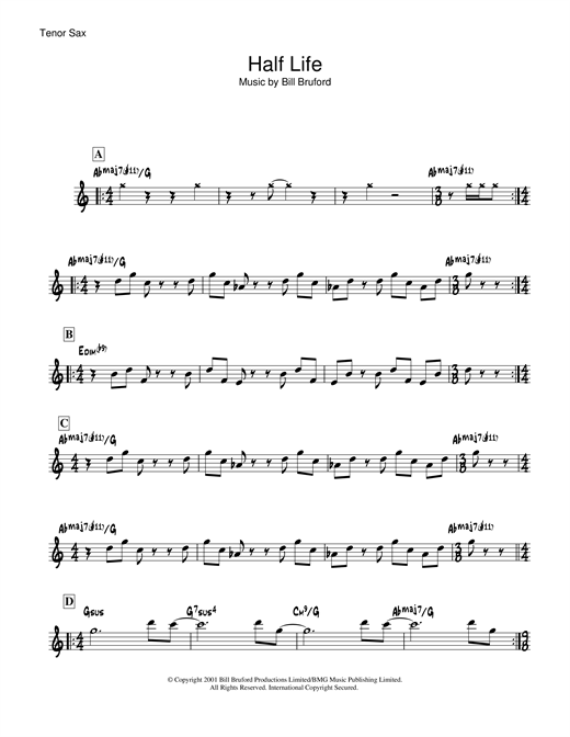 Bill Bruford Half Life sheet music notes and chords. Download Printable PDF.