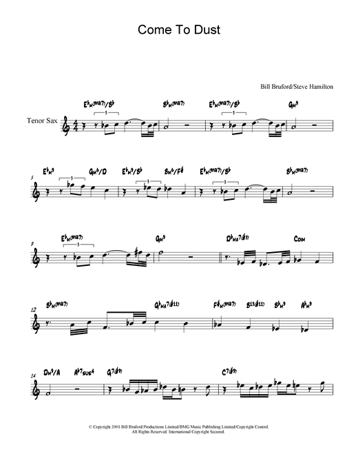 Bill Bruford Come To Dust sheet music notes and chords. Download Printable PDF.