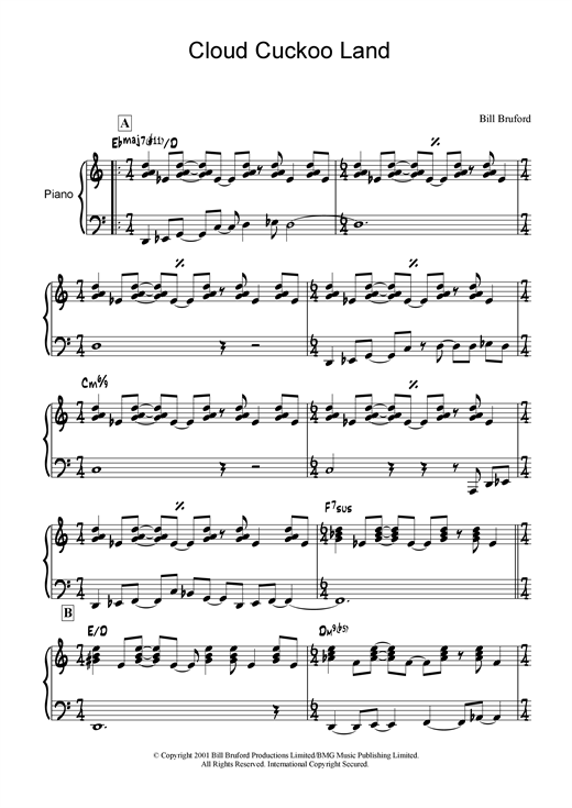 Bill Bruford Cloud Cuckoo Land sheet music notes and chords. Download Printable PDF.