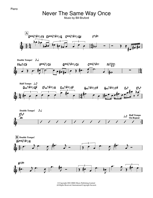 Bill Bruford Never The Same Way Once sheet music notes and chords. Download Printable PDF.