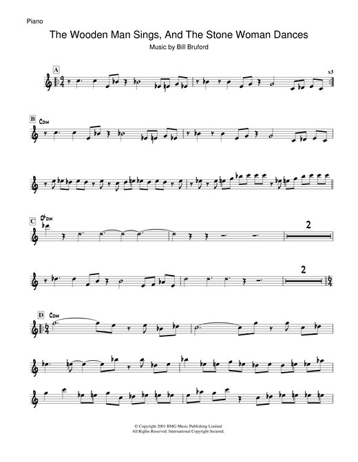 Bill Bruford The Wooden Man Sings And The Stone Woman Dances sheet music notes and chords. Download Printable PDF.